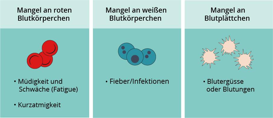 Grafik mit Darstellung der Symptome bei Mangel verschiedener Blutteile